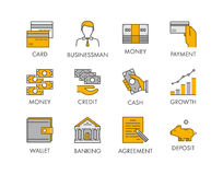 Vector line icon set for banking. Stock Image