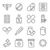 Vector Line Icon Set. Contains such Icons as Pills, Tablet, Pain, Painkiller, Aspirin, Health and more. Vector Line Icon Set. Contains such Icons as Pills royalty free illustration