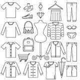 Vector line icon set - fashion sale symbol Product Category on white background. Vector line icons set - fashion sale symbol Product Category on white background vector illustration