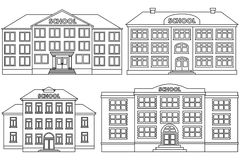Vector line icon set school buildings. Set line icon of different types of school buildings.  schoolhouses on white background. Vector flat illustration Royalty Free Stock Images