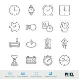 Vector Line Icon Set. Time Related Linear Icons. Clock Symbols, Pictograms, Signs royalty free illustration
