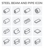 Steel beam pipe. Vector line icon of steel pipe and beam product  for construction industry work Royalty Free Stock Photo