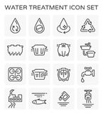Water treatment icon. Vector line icon of water treatment plant and septic tank Stock Photography