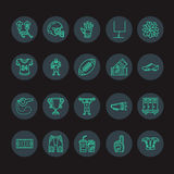 Vector line icons of american football game. Elements - ball, field, player, helmet, bullhorn. Linear signs set Stock Images