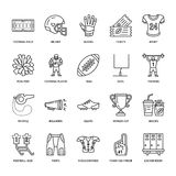 Vector line icons of american football game. Elements - ball, field, player, helmet, bullhorn. Linear signs set Royalty Free Stock Photos
