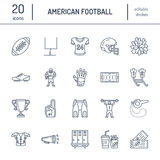 Vector line icons of american football game. Elements Stock Photo