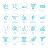 Vector line icons of american football game. Stock Images