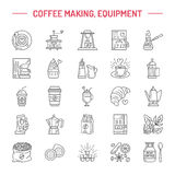Vector line icons of coffee making equipment. Elements moka pot, french press, coffee grinder, espresso, vending, coffee Stock Images
