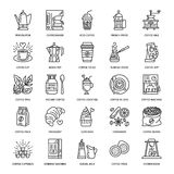 Vector line icons of coffee making equipment. Elements - moka pot, french press, coffee grinder, espresso, vending Stock Images