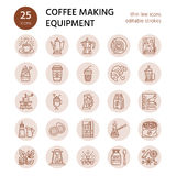 Vector line icons of coffee making equipment. Elements - moka pot, french press, coffee grinder, espresso, vending Royalty Free Stock Images