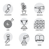 Vector line icons of concepts like discovery, innovation, invent Royalty Free Stock Photos