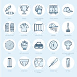 Vector line icons of cricket sport game. Ball, bat, wicket, helm Royalty Free Stock Images