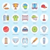 Vector line icons of cricket sport game. Ball, bat, wicket, helmet, batsman gloves. Linear signs set, championship Stock Photos