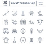 Vector line icons of cricket sport game. Ball, bat, wicket, helmet, batsman gloves. Linear signs set, championship Stock Photo