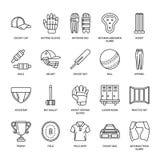 Vector line icons of cricket sport game. Ball, bat, wicket, helmet, batsman gloves. Linear signs set, championship Stock Image