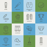 Vector line icons of cricket sport game. Ball, bat, wicket, helmet, batsman gloves. Linear signs set, championship Royalty Free Stock Image