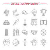 Vector line icons of cricket sport game. Ball, bat, wicket, helmet, batsman gloves. Linear signs set, championship Royalty Free Stock Photo