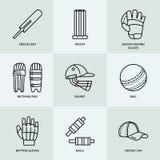Vector line icons of cricket sport game. Ball, bat, wicket, helmet, batsman gloves. Linear signs set, championship stock illustration