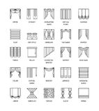 Vector line icons with drapes. Window curtains, blinds and shade Stock Photography