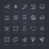 Vector line icons of fabric feature, garments property symbols. Elements - cotton, wool, waterproof, uv protection. Linear wear la Royalty Free Stock Photos