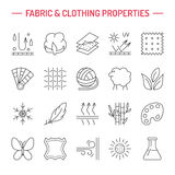 Vector line icons of fabric feature, garments property symbols. Elements - cotton, wool, waterproof, uv protection. Wear labels Royalty Free Stock Photos