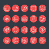 Vector line icons of fabric feature, garments property symbols. Elements - cotton, wool, waterproof, uv protection. Wear labels. Vector line icons of fabric vector illustration