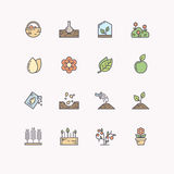 Vector line icons for gardening. Stock Image