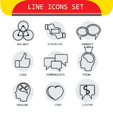 Vector line icons of human actions like loving, listening, think Stock Photo