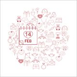 Vector line icons. idea illustration for design t-shirts, banners, flyers and other types of polygraphy products. Vector illustration with different Valentines Royalty Free Stock Images