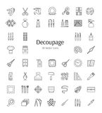 Vector line icons about paper craft. Decoupage tools and accesso. Decoupage tools and accessories. Vector line icons.  Decorating boxes, furniture and frames Royalty Free Stock Photography