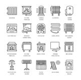 Vector line icons with radiator, convector and fireplace. Heatin Royalty Free Stock Images