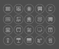 Vector line icons with radiator, convector and fireplace. Heatin Royalty Free Stock Image