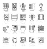 Vector line icons with radiator, convector and fireplace. Heatin Stock Photography