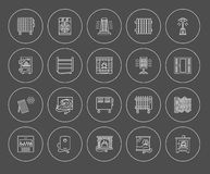 Vector line icons with radiator, convector and fireplace. Heatin Stock Images