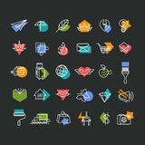 Vector line icons' set with color geometrical accents. Royalty Free Stock Photo