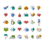 Vector line icons' set with geometrical accents Royalty Free Stock Image