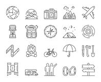Vector line icons set of hiking, travel and adventure Royalty Free Stock Photo
