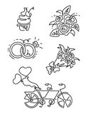 Vector Line Icons set. Includes such Icons as diamond, cupcake, two rings together, tandem bike, bouquet of flowers Royalty Free Stock Image