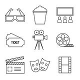 Vector line icons. Vector set line icons. Lineary pictogram. Camera, movie, ticket, cinema, popcorn 3D glasses clapboard screen filmstrip film reel Stock Photo