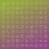100 vector line icons set. For web design and user interface in flat graphic style. More lighter lines then ever, nice detail and easily identifiable Royalty Free Stock Photography