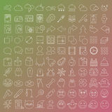 100 vector line icons set. For web design and user interface in flat graphic style. More lighter lines then ever, nice detail and easily identifiable Stock Photography