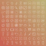 100 vector line icons set. For web design and user interface in flat graphic style. More lighter lines then ever, nice detail and easily identifiable Stock Image