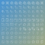 100 vector line icons set. For web design and user interface in flat graphic style. More lighter lines then ever, nice detail and easily identifiable Royalty Free Stock Image