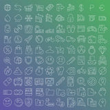 100 vector line icons set. For web design and user interface in flat graphic style. More lighter lines then ever, nice detail and easily identifiable Stock Photo