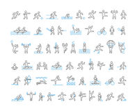 Vector line icons of sportsmen. Royalty Free Stock Photo