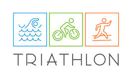 Vector line icons of triathletes. Stock Photography