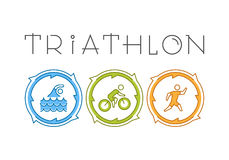 Vector line icons of triathletes. Royalty Free Stock Photo