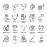 Vector line icons of urology. Elements - urologist, bladder, oncological urology, kidneys, adrenal glands, prostate. Royalty Free Stock Photos