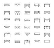 Vector line icons with valances and pelmets. Window top treatmen. Ts. Different styles of draperies and blinds. Elements for interior decoration Stock Photo