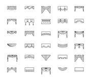 Vector line icons with valances and pelmets. Window top treatmen Stock Photo